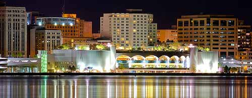 Photograph of Monona Terrace at night